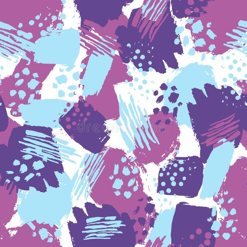 Slår den färgrika sömlösa modellen för vektorn med borsten och prickar blå violett färg på vit bakgrund Hand målad lantgård stock illustrationer