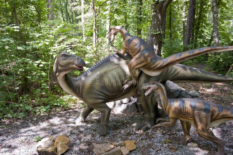 slåss för dinosaurs arkivbilder