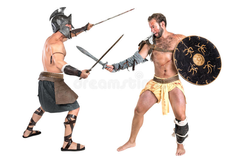 Slåss för gladiatorer arkivfoton