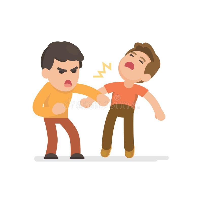Slåss för två unga män som är ilsket, och ropa på de, vektor royaltyfri illustrationer