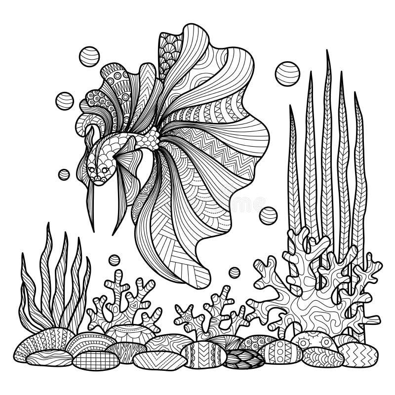 Slåss fiskteckningen för färgläggningbok stock illustrationer
