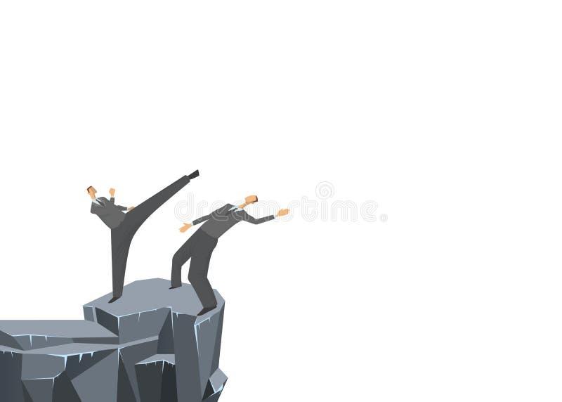Slåss mellan två affärsmän, en skjuter annan in i avgrunden Begrepp på ämnet av konkurrens Affärsvektor royaltyfri illustrationer