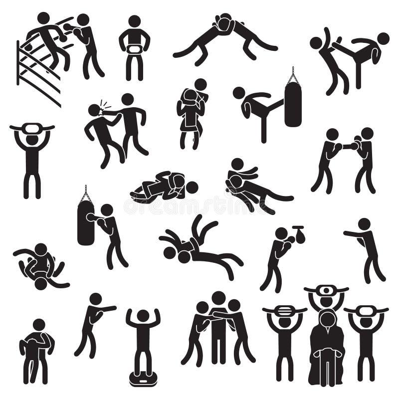 Slåss symbolsuppsättningen Boxning, blandade kampsporter, brottas och andra vektor vektor illustrationer