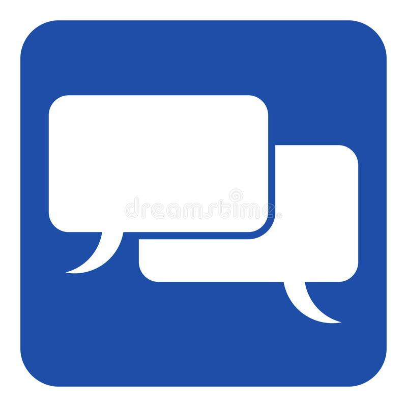 Slösa det vita tecknet, symbol för två anförandebubblor royaltyfri illustrationer