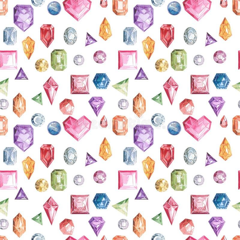 Slösa gör grön, för rosa färger, röda och violetta diamantkristaller seamless modell Vattenfärgmodell bakgrund isolerad white vektor illustrationer