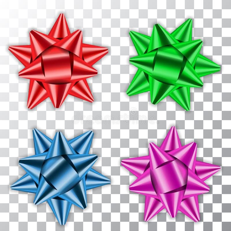 Slösa, göra grön banduppsättningen för pilbågen 3d, rött rosa Gåvan för mallen för dekorbeståndsdelar isolerade den skinande, fer stock illustrationer