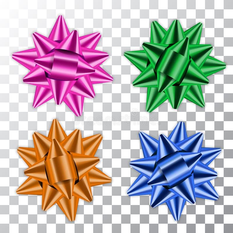 Slösa, göra grön, rosa färger, orange band för pilbågen 3d ställer in Gåva för gåva för garneringar för färg för dekorbeståndsdel vektor illustrationer