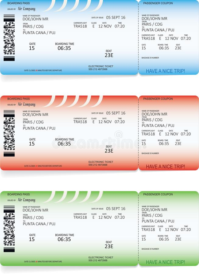 Slösa, gräsplan och röda biljetter för flygbolaglogipasserande stock illustrationer