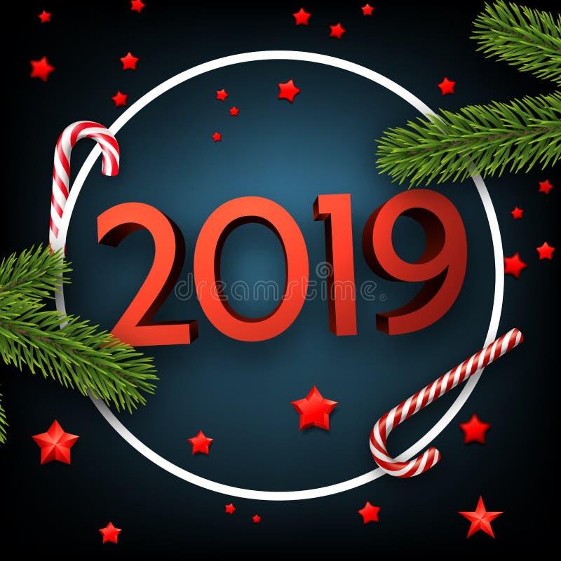Slösa 2019 kort för lyckligt nytt år med gran och godisen stock illustrationer