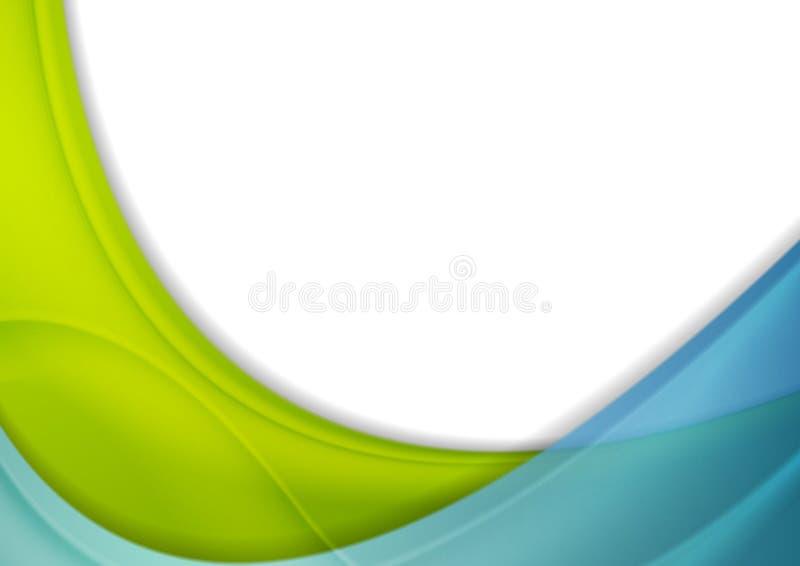 Slösa och göra grön abstrakt företags skinande vågbakgrund stock illustrationer
