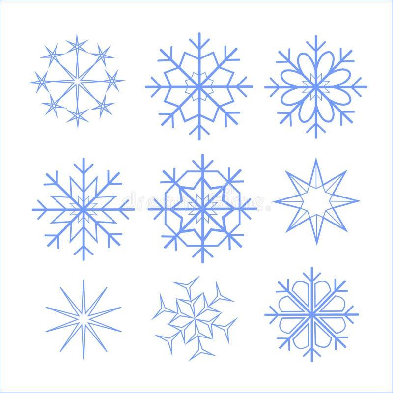 Slösar härliga olika för snöflingor, för hälsningkort för jul och för det nya året, blått och att intressera, illustrationvektorn royaltyfri illustrationer