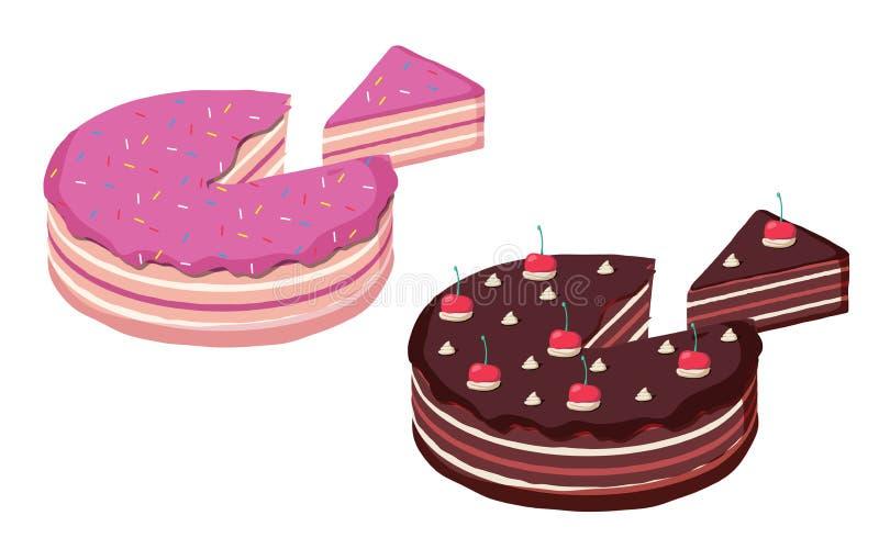 Sl isométrico del sistema de la torta de cumpleaños y de la torta de chocolate, entero y cortado ilustración del vector