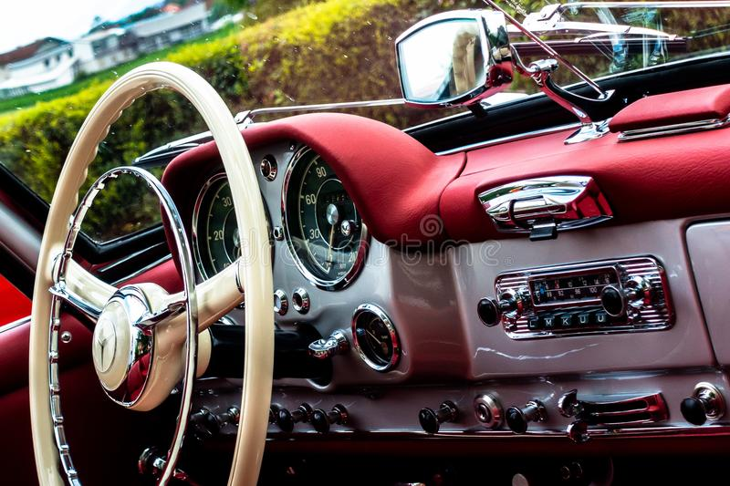 190SL Oldtimer Interieur. Interieur of a Mercedes-Benz 190 SL Convertible Oldtimer royalty free stock images