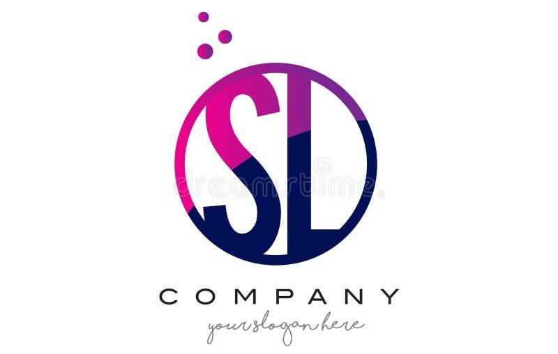 SL S L letra Logo Design do círculo com Dots Bubbles roxo ilustração royalty free