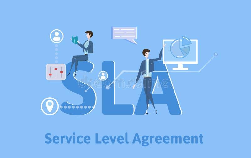 SLA överenskommelse för tjänste- nivå Begreppstabell med nyckelord, bokstäver och symboler Kulör plan vektorillustration på blått vektor illustrationer