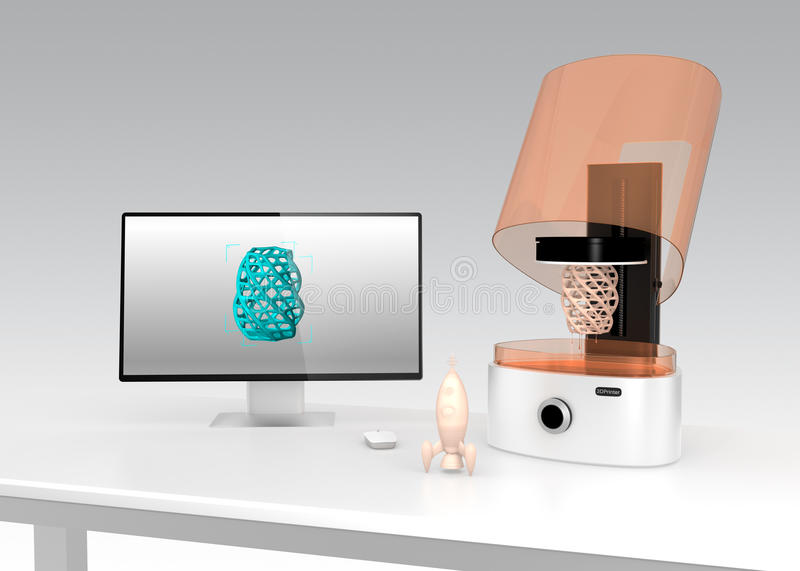 SLA 3D printer and monitor on a table. vector illustration