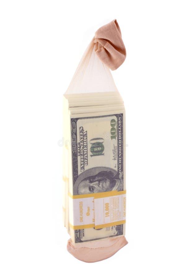 Sla geen geld in een sok op! stock fotografie