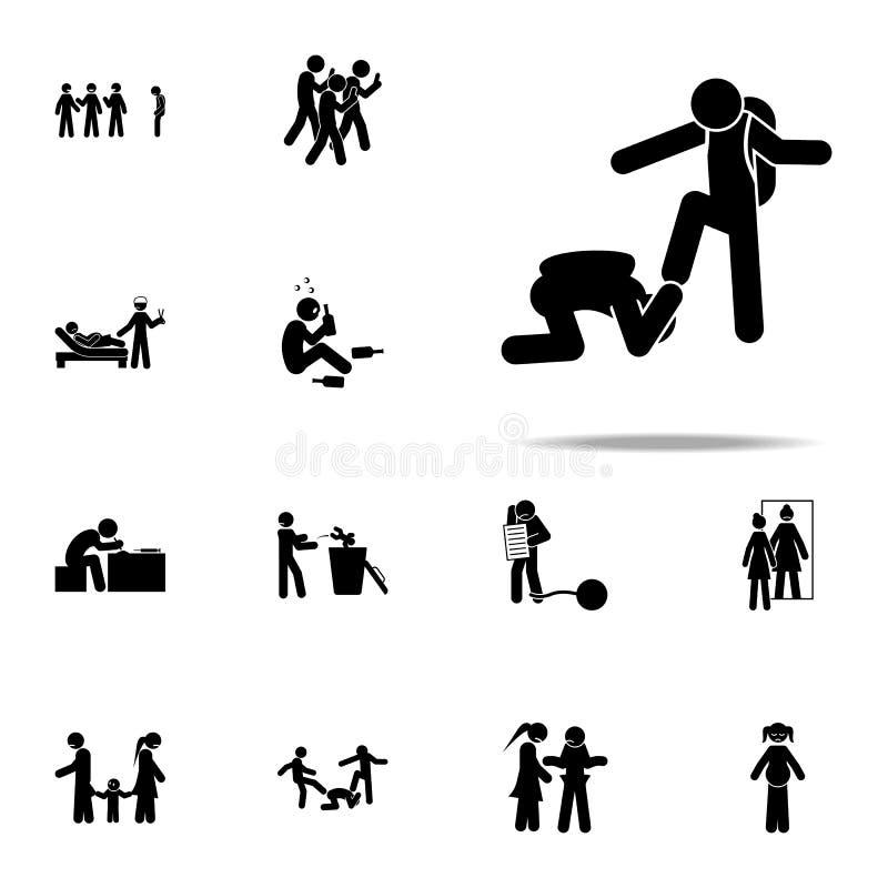 sla, intimideer pictogram Voor Web wordt geplaatst en mobiel de pictogrammenalgemeen begrip van de jeugd sociaal die kwesties royalty-vrije illustratie