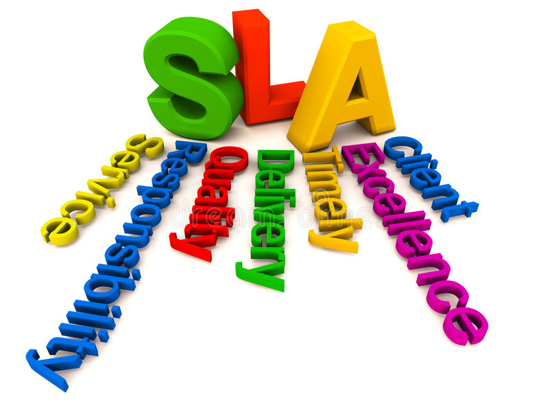 SLA words collage. SLA or service level agreement collage of words related to response time on any service issues royalty free illustration