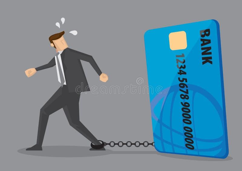 Slaaf aan de Conceptuele Vectorillustratie van de Creditcardschuld royalty-vrije illustratie