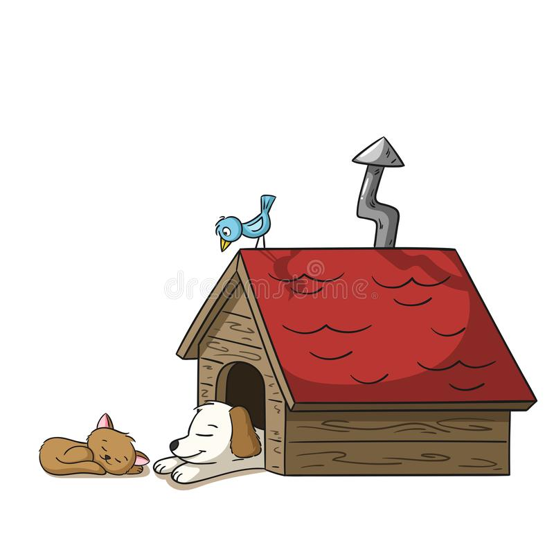 Slaap Cat And Dog stock illustratie
