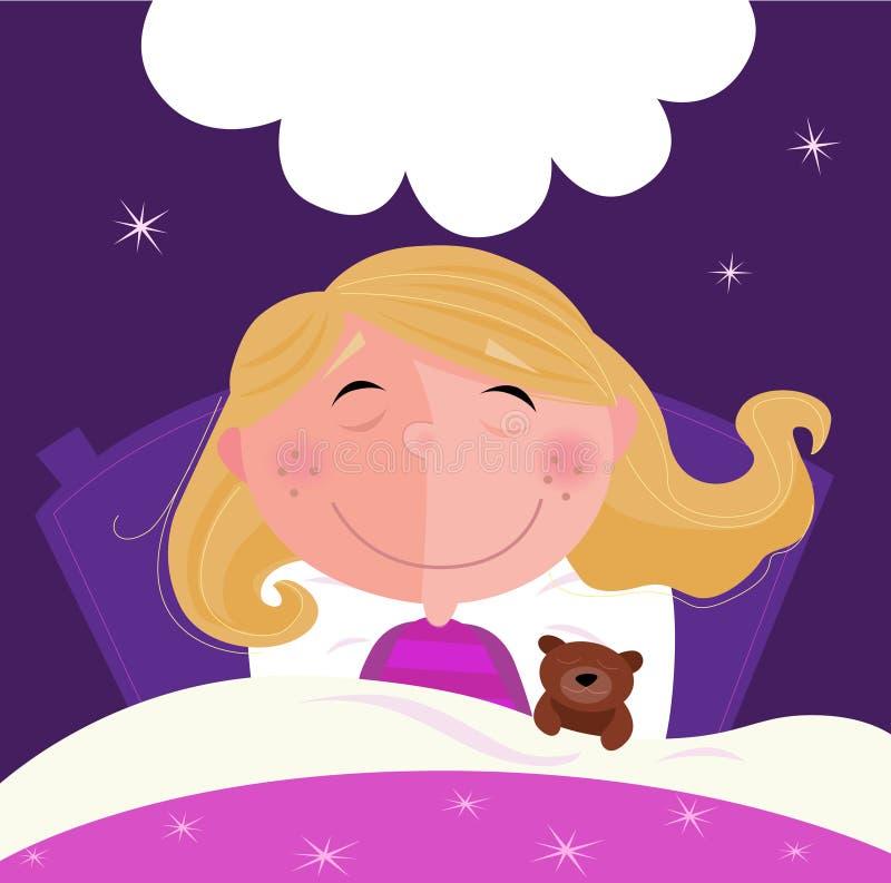 Slaap en dromend meisje in roze pyjama stock illustratie