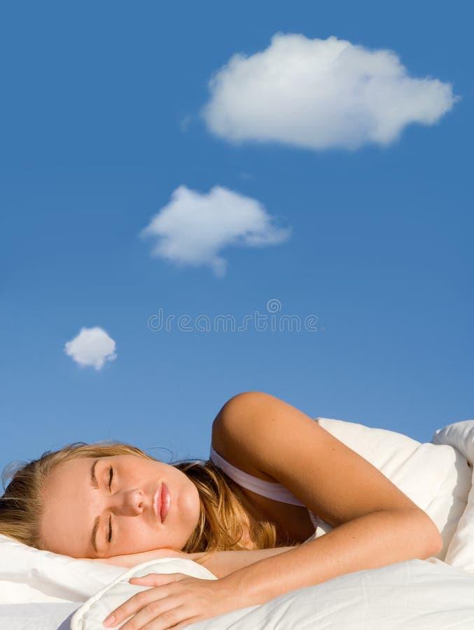 Slaap met droom gedachte bel royalty-vrije stock foto's