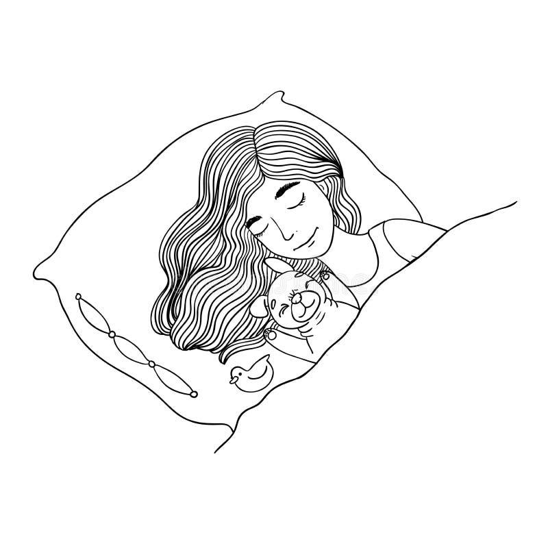 Slaap mooi jong meisje en leuke pug vector illustratie
