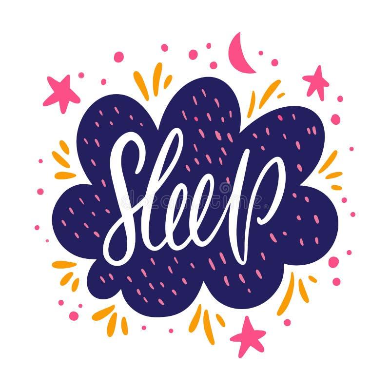 slaap Motieven Inspirational citaat Vector illustratie die op witte achtergrond wordt geïsoleerdd stock illustratie