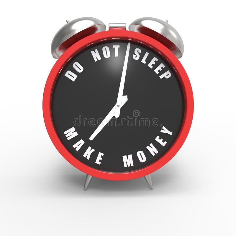 Slaap niet. Maak geld. vector illustratie