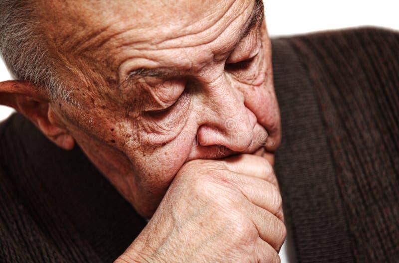 Slaap oude mens stock afbeelding