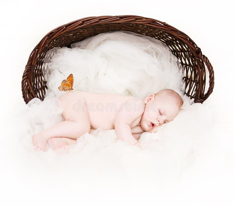 Slaap Pasgeboren Baby, Mooie Nieuw - het geboren Portret van de Jong geitjestudio royalty-vrije stock foto's