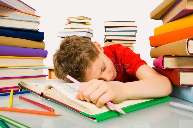 Slaap tijdens les stock afbeelding