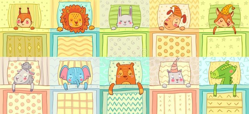 Slaapdieren Leuke dierlijke nachtslaap bij bed, grappige hond op hoofdkussen en kat in de vectorillustratie van het nachtmutsbeel royalty-vrije illustratie