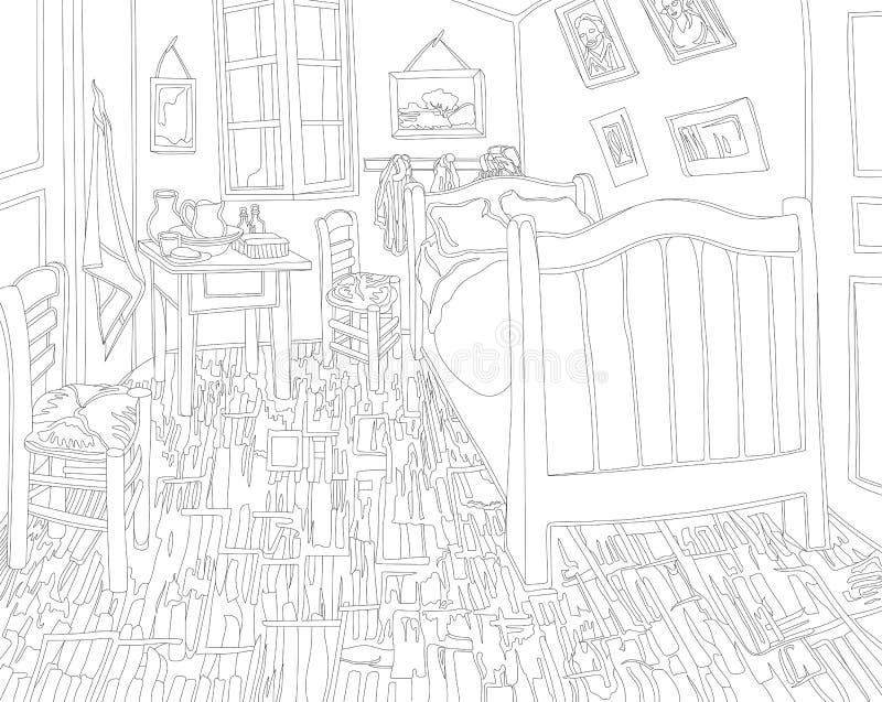 Slaapkamer In Arles Door De Volwassen Kleurende Pagina Van Vincent ...