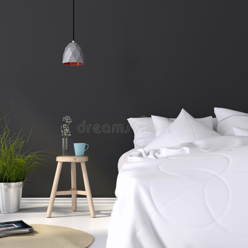Slaapkamer Met Een Houten Kruk En Een Concrete Lamp Stock Foto ...