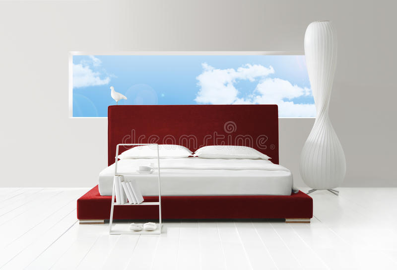 Slaapkamer met een mening royalty-vrije stock foto's