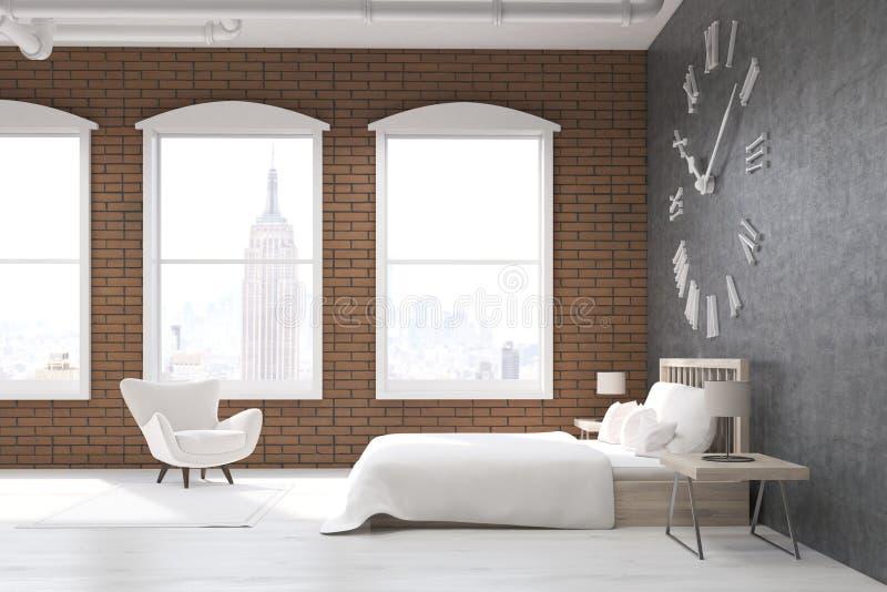 Slaapkamer New York : Slaapkamer met grote klok en leunstoel in new york stock