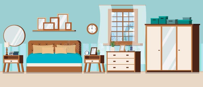 Slaapkamer met meubilair en venstermening van de winterlandschap met bevroren meer vector illustratie