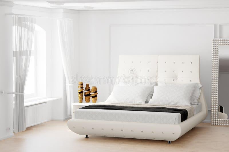 Slaapkamer met spiegel stock illustratie. Illustratie bestaande uit ...
