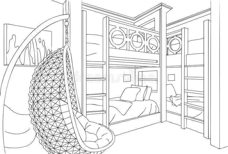Slaapkamer met vier bedden unieke minimalistische binnenlandse vector, lijnkunst, schets en overzichtsillustratie vector illustratie