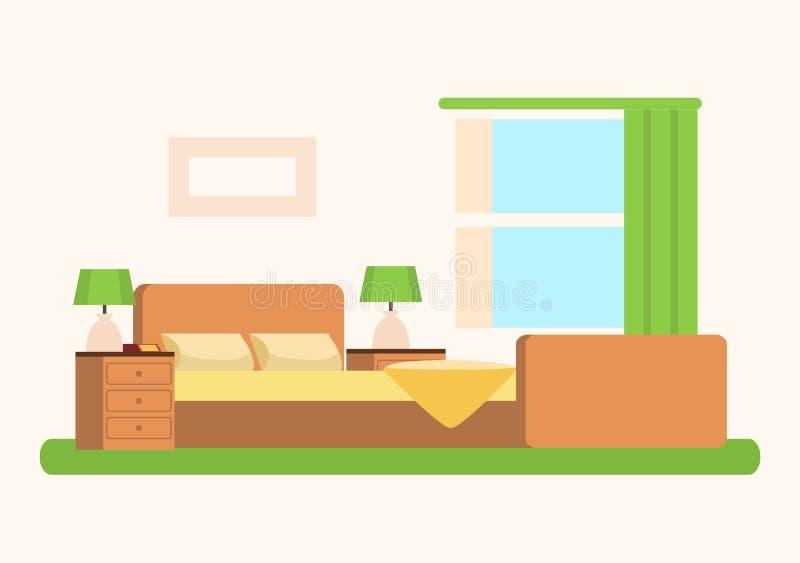Slaapkamer met Zacht Ruim Bed dichtbij Groot Venster royalty-vrije illustratie