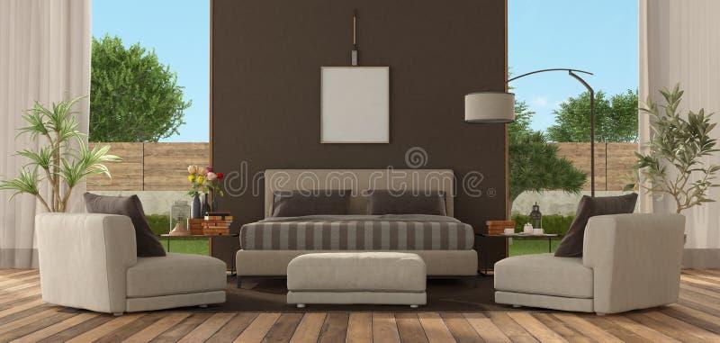 slaapkamer van een moderne villa vector illustratie