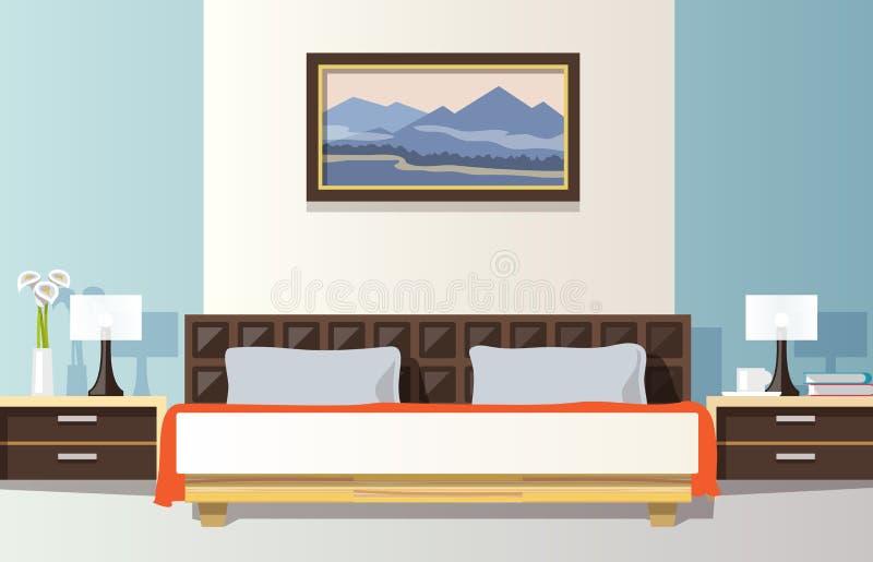 Slaapkamer Vlakke Illustratie vector illustratie