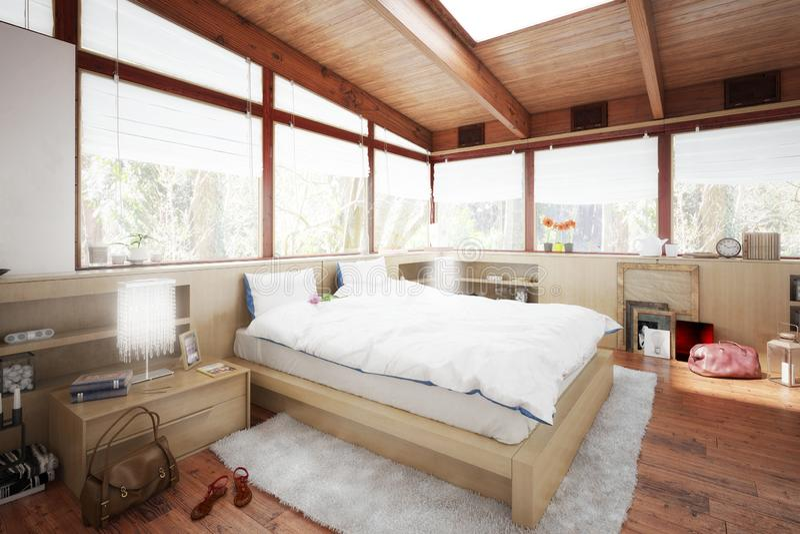 Slaapkamer in zolderintegratie stock illustratie