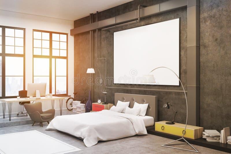 Slaapkamer: zwarte muren stock illustratie. Illustratie bestaande ...