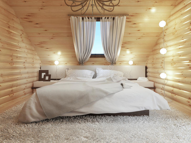 Slaapkamerbinnenland in een opening van een sessie de zoldervloer met een dakvenster royalty-vrije illustratie