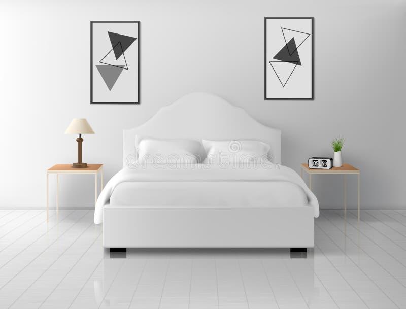 Slaapkamerbinnenland, huis of hotel lege flat stock illustratie