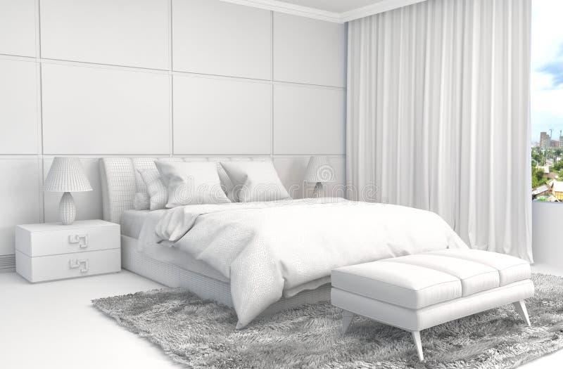 Slaapkamerbinnenland met CAD wireframe netwerk 3D Illustratie royalty-vrije illustratie