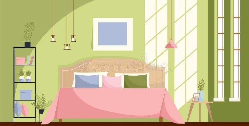 Slaapkamerbinnenland met een bed, nightstands, plank, grote vensters Zonlicht op groene muur en Roze beddekking met vele hoofdkus vector illustratie